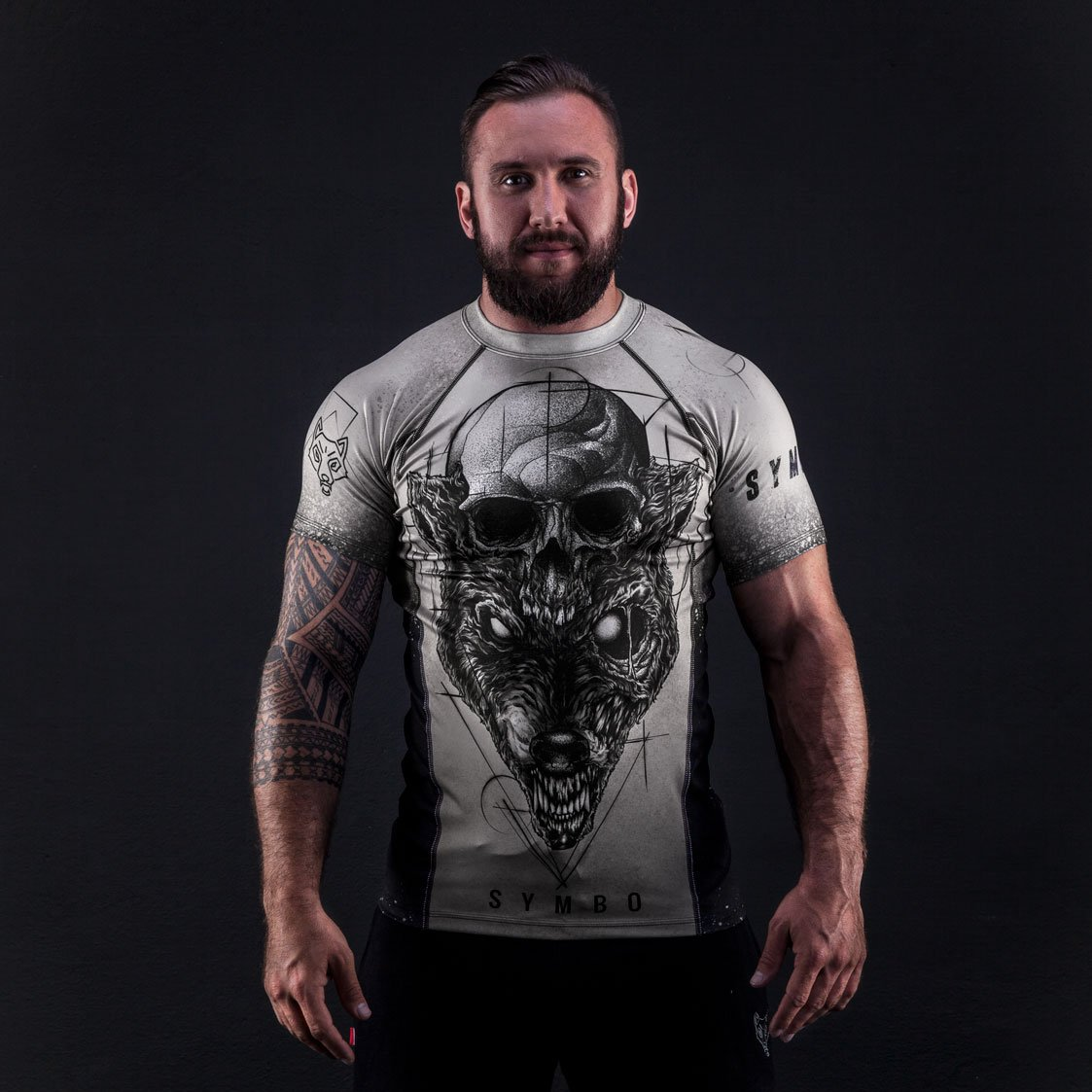 Symbo T-Shirt Herren Rashguard Animal Tattoo thermoaktiv Kompression Stretch Sport Fitness Training Kampfsport