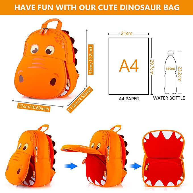 Amazon.com: YISIBO Dinosaur Backpack Orange Hippo Kids Toddler Child Cute Zoo Waterproof 3D Cartoon Sidesick Bag for Pre School Pre Kindergarten Toddler 2-7 ...