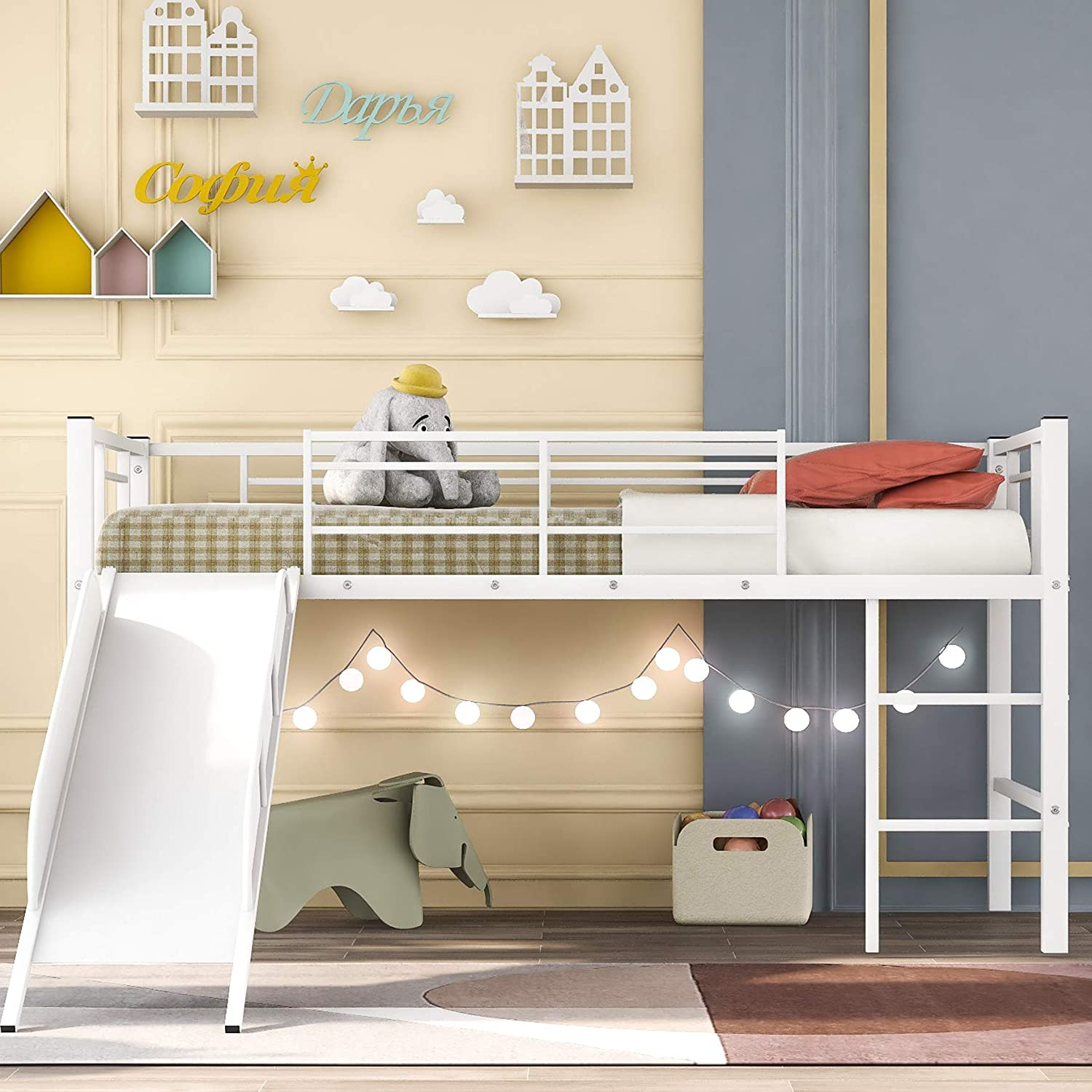 Twin Loft Beds for Kids, Metal Loft Bed with Slide, No Box Spring Required (White Loft Beds)