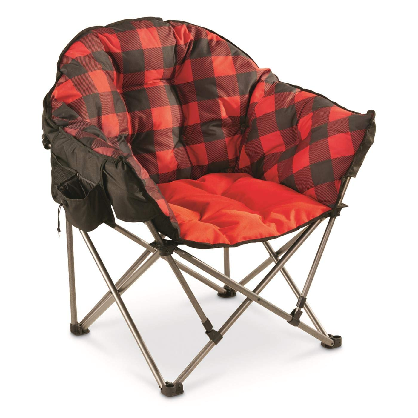 Guide Gear Oversized Club Camp Chair, 500-lb. Capacity, Red Plaid by Guide Gear