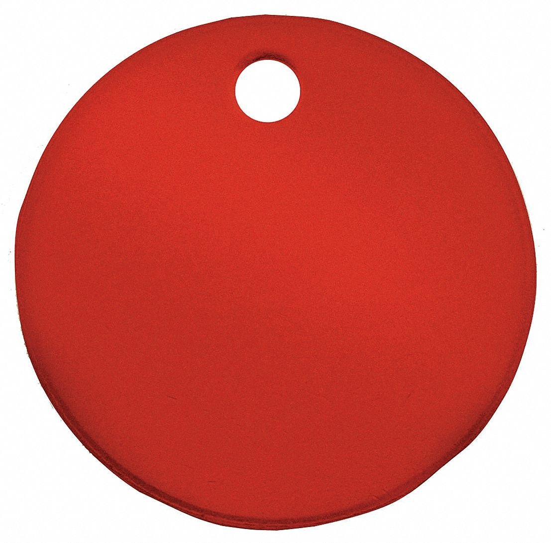 Red Blank Tag, Aluminum, Round, 1'' Height, 5 PK
