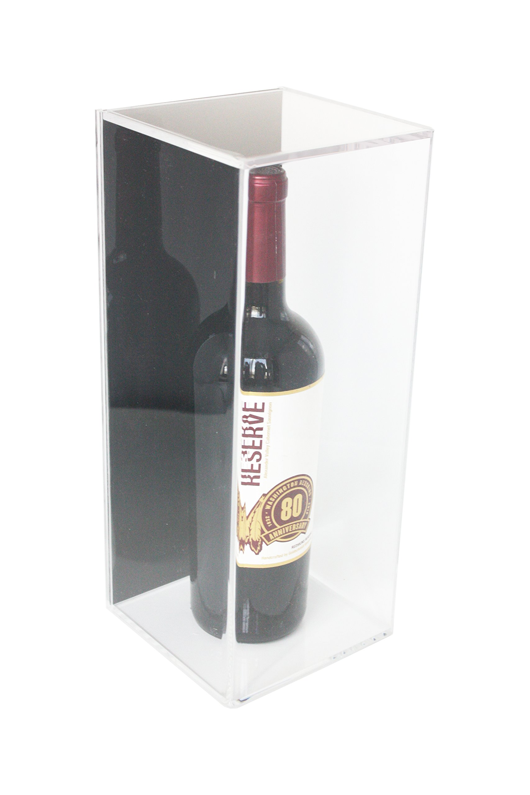 Deluxe Acrylic Wine Bottle Display Case with Black Back and Wall Mount (A017-BB)