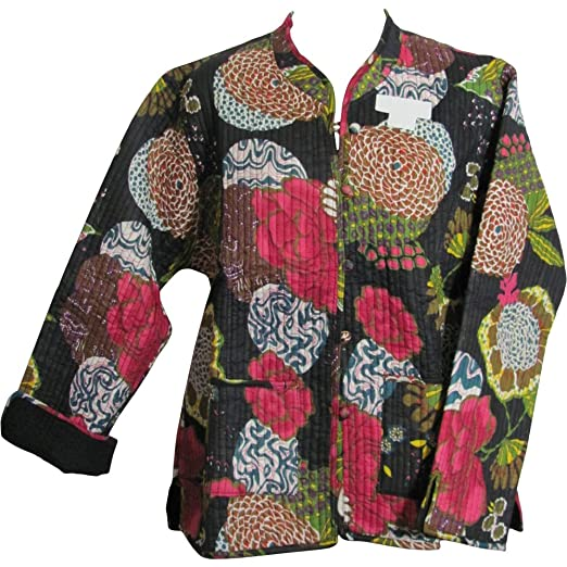 3481ccdd Yoga Trendz Reversible Missy Floral Quilted Cotton Outerwear Jacket  Cardigan Blouse JK No1 (Small/