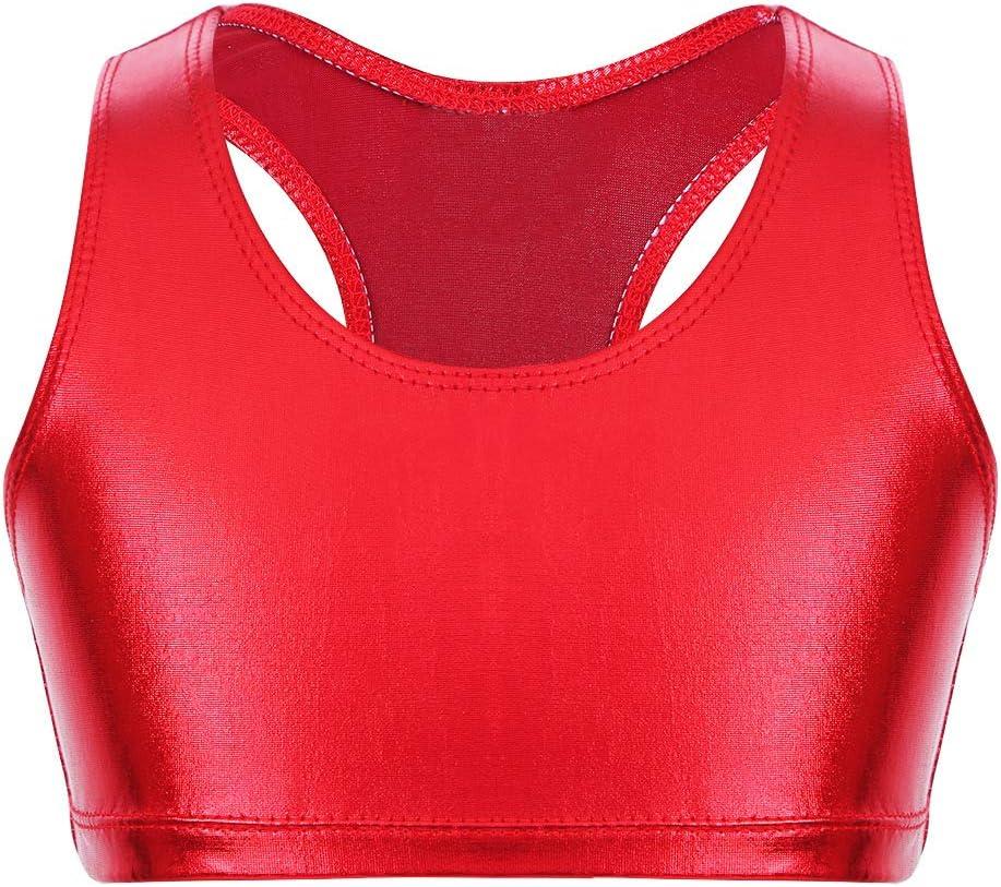 iixpin Kids Girls Racer Back Dance Crop Top Sleeveless Metallic Sports Bra Ballet Gymnastic Tank Tops