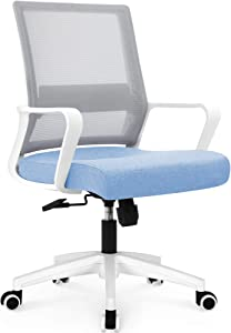 NEO CHAIR Office Chair Ergonomic Desk Chair Mesh Computer Chair Lumbar Support Modern Executive Adjustable Rolling Swivel Chair Comfortable Mid Black Task Home Office Chair, Sky Blue