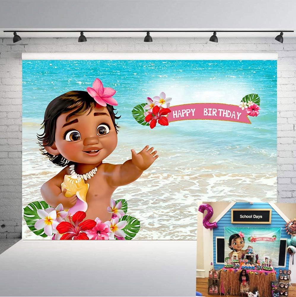 Amazon.com : TJ 7X5FT Baby Moana Backdrop 1st Birthday Party ...