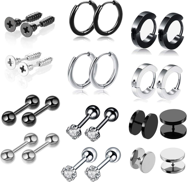 Amazon Com Jyhf 12 Pairs Earrings For Men Women Cool Stainless Steel Hoop Earrings Ball Black Dot Diamond Screw Stud Earrings Set Punk Ear Piercing Studs Hypoallergenic Jewelry