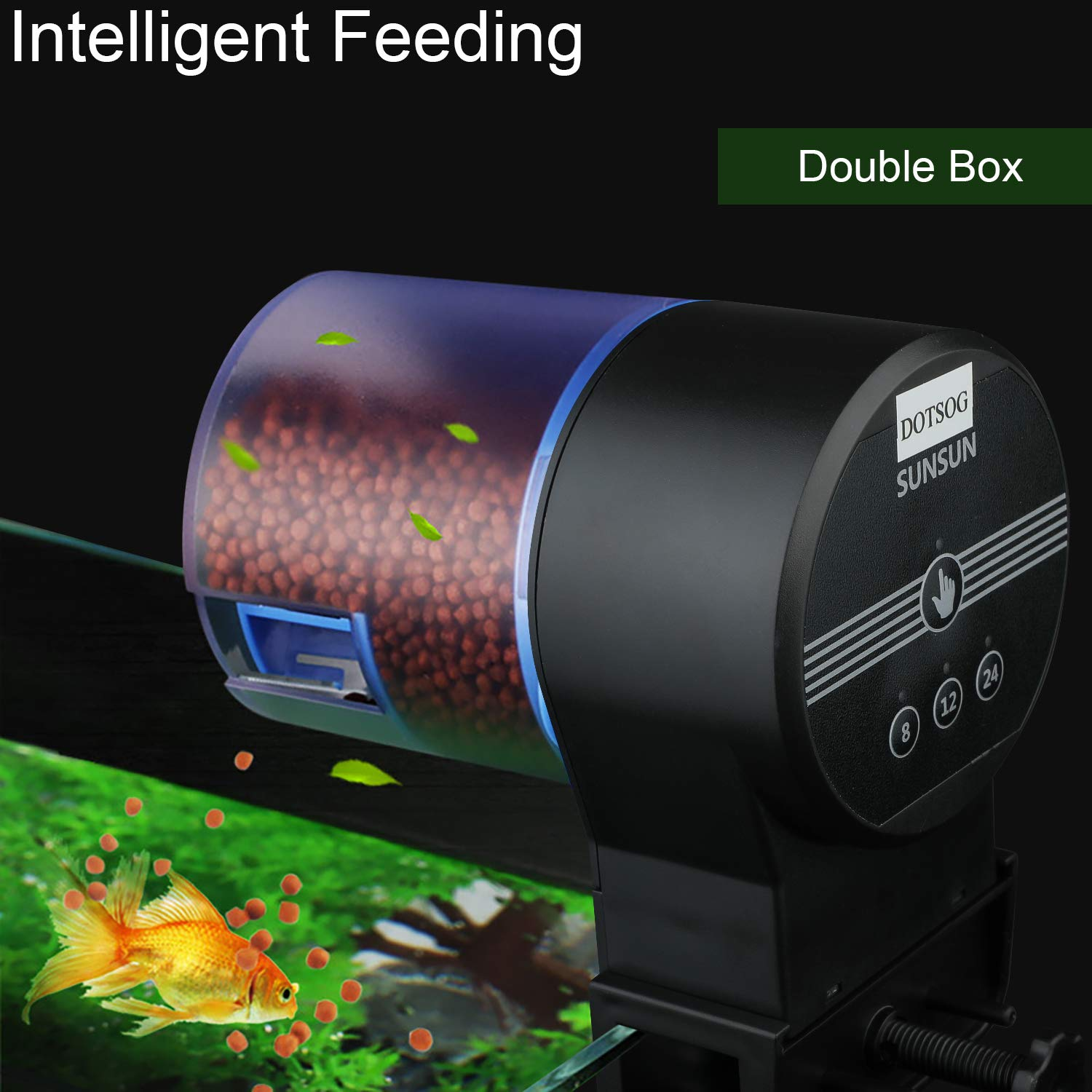DOTSOG Digital Automatic Fish Feeder - Rechargeable Timer Fish Feeder with USB Charger Cable, Fish Food Dispenser for Aquarium or Fish Tank by DOTSOG (Image #7)