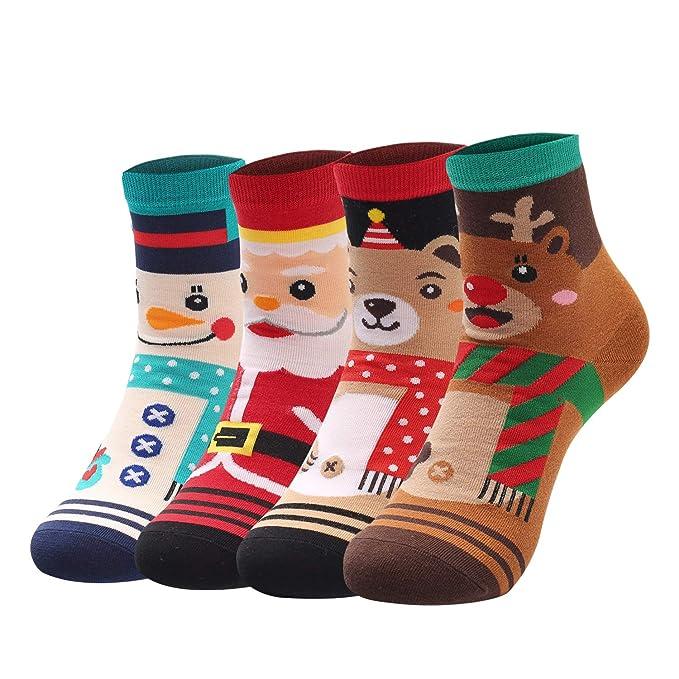 Yidarton Calcetines de Navidad Para Mujer Papá Noel Dibujos Animados Casual Algodón Cálido y Suave Diseño