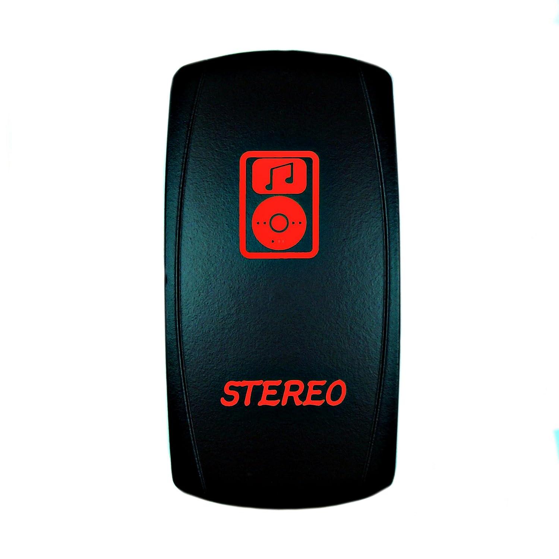 Universal Laser Rocker Switch Backlit LED STEREO for Car Truck Boat ATV UTV 12V Bright Light Powersports (Red)