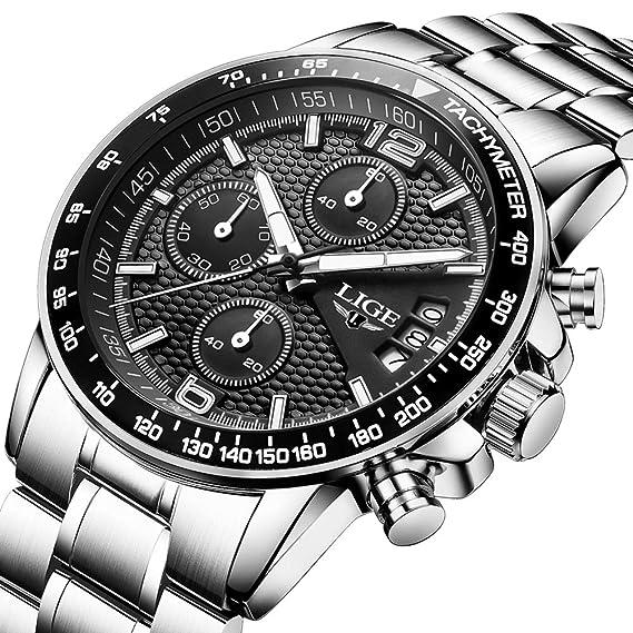 Reloj de Pulsera para Hombre de Acero Inoxidable Negro clásico Reloj de Negocios analógico Reloj de Cuarzo Resistente al Agua Deportivo cronógrafo: ...