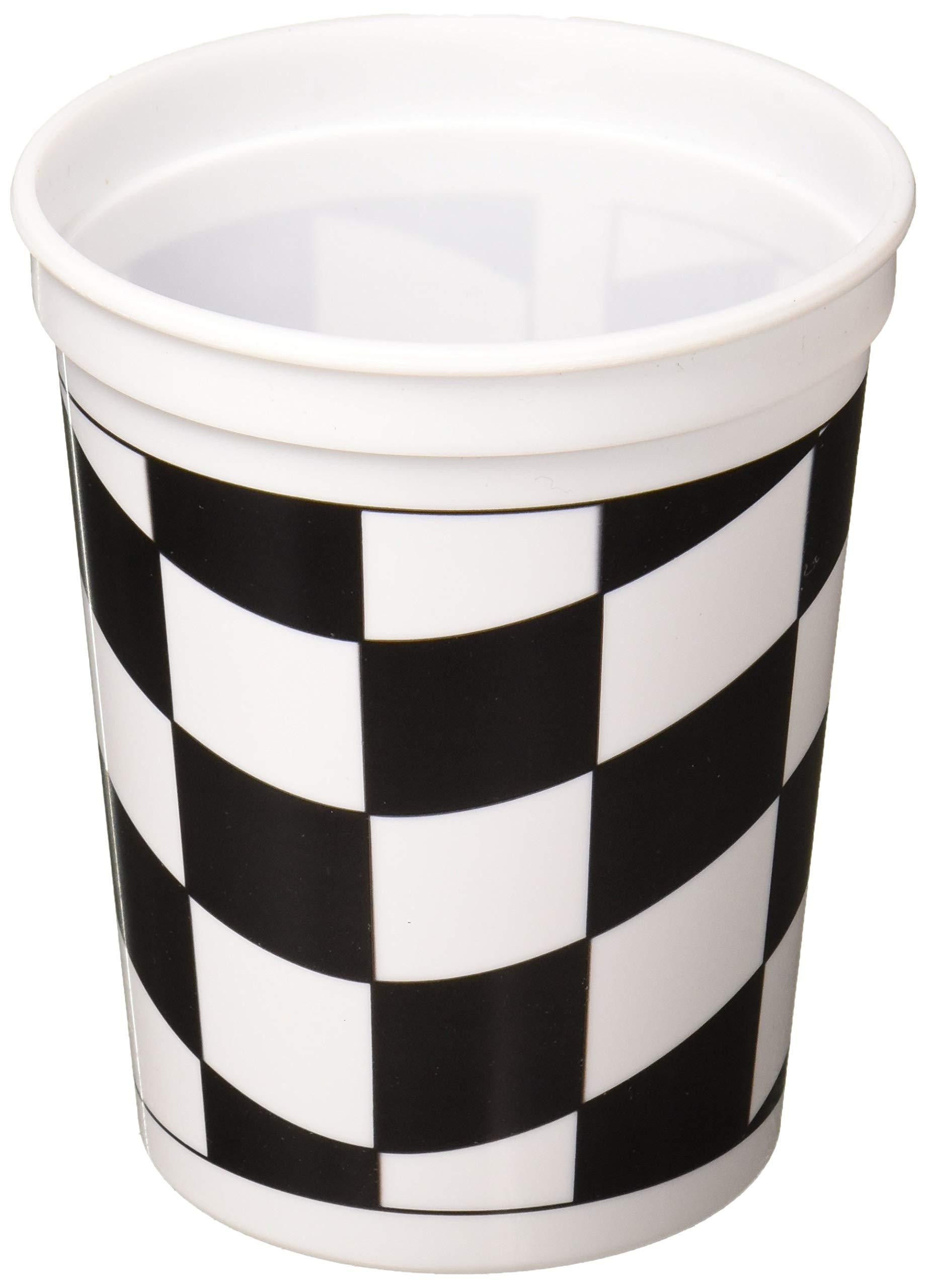 Creative Converting 110546316 Printed Plastic Cup, 16 oz, Black/White