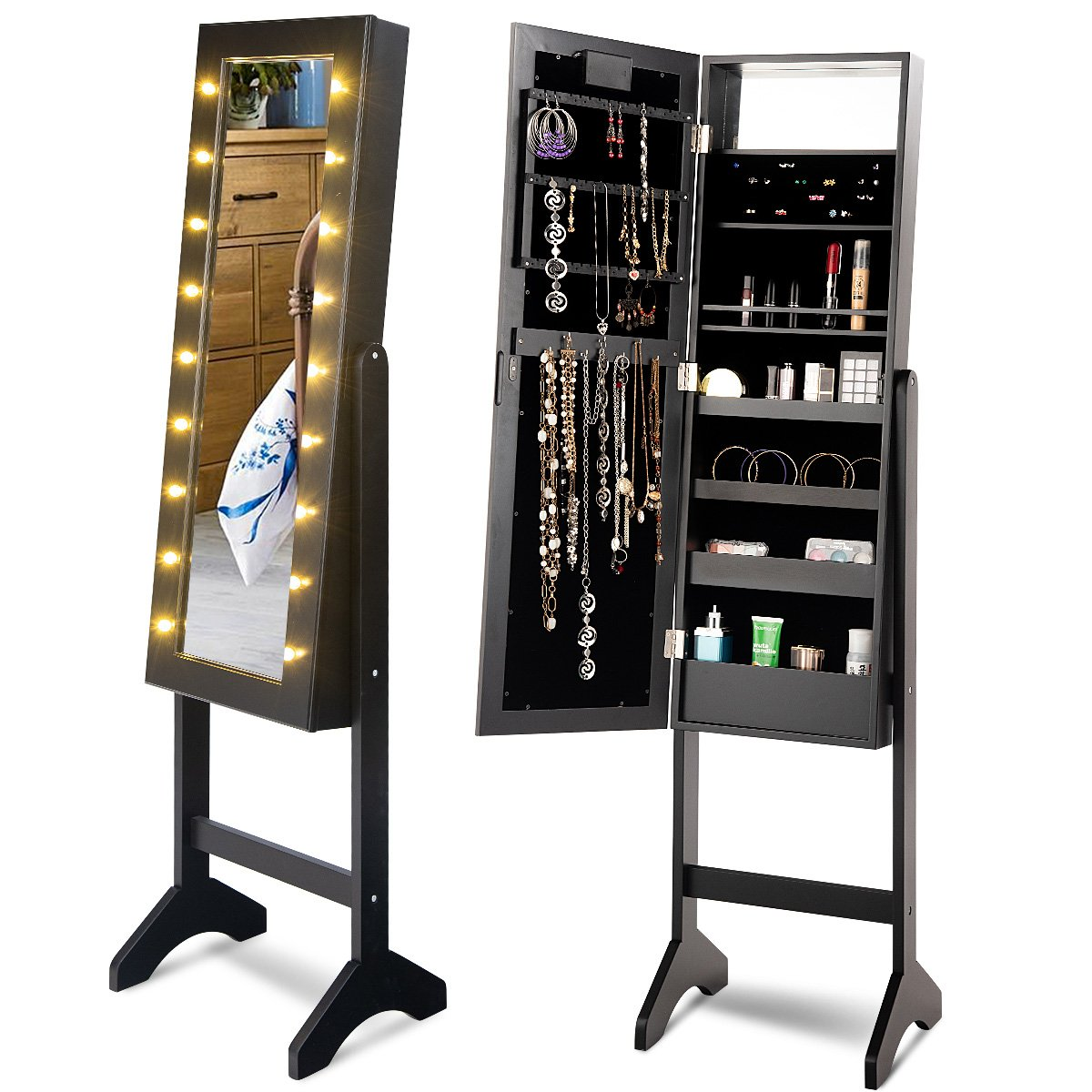Giantex Mirrored Jewelry Cabinet Armoire Storage Organizer for Rings, Earrings, Bracelets, Broaches, Cosmetics Free Standing Full Length Mirror w/ 18 LED lights (Black)