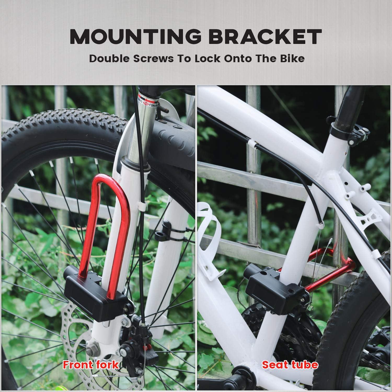 Folding Bike BMX Bike Mountain Bike PRUNUS Lightweight Bike U Lock Small Alarm Bike Lock with Mounting Bracket for Road Bike Red Electric Bike