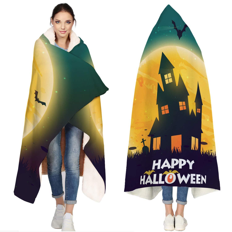 SUN-Shine Happy Halloween Sherpa Hooded Blanket, Wrap Soft Flannel Fleece Wearable Throw Hoodie Blankets for Kids Adults Girls Boys, Castle Full Moon and Bats by SUN-Shine