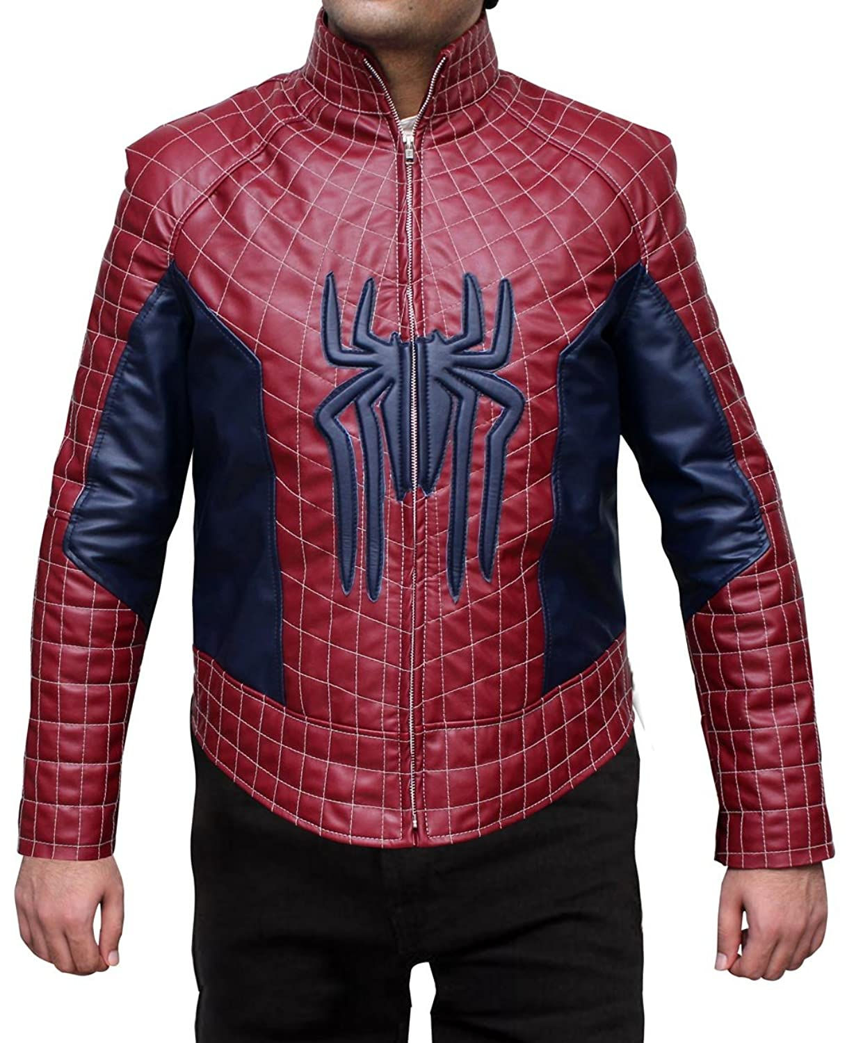 Spiderman Jacket - Red and Black Leather Biker Jacket at Amazon ...
