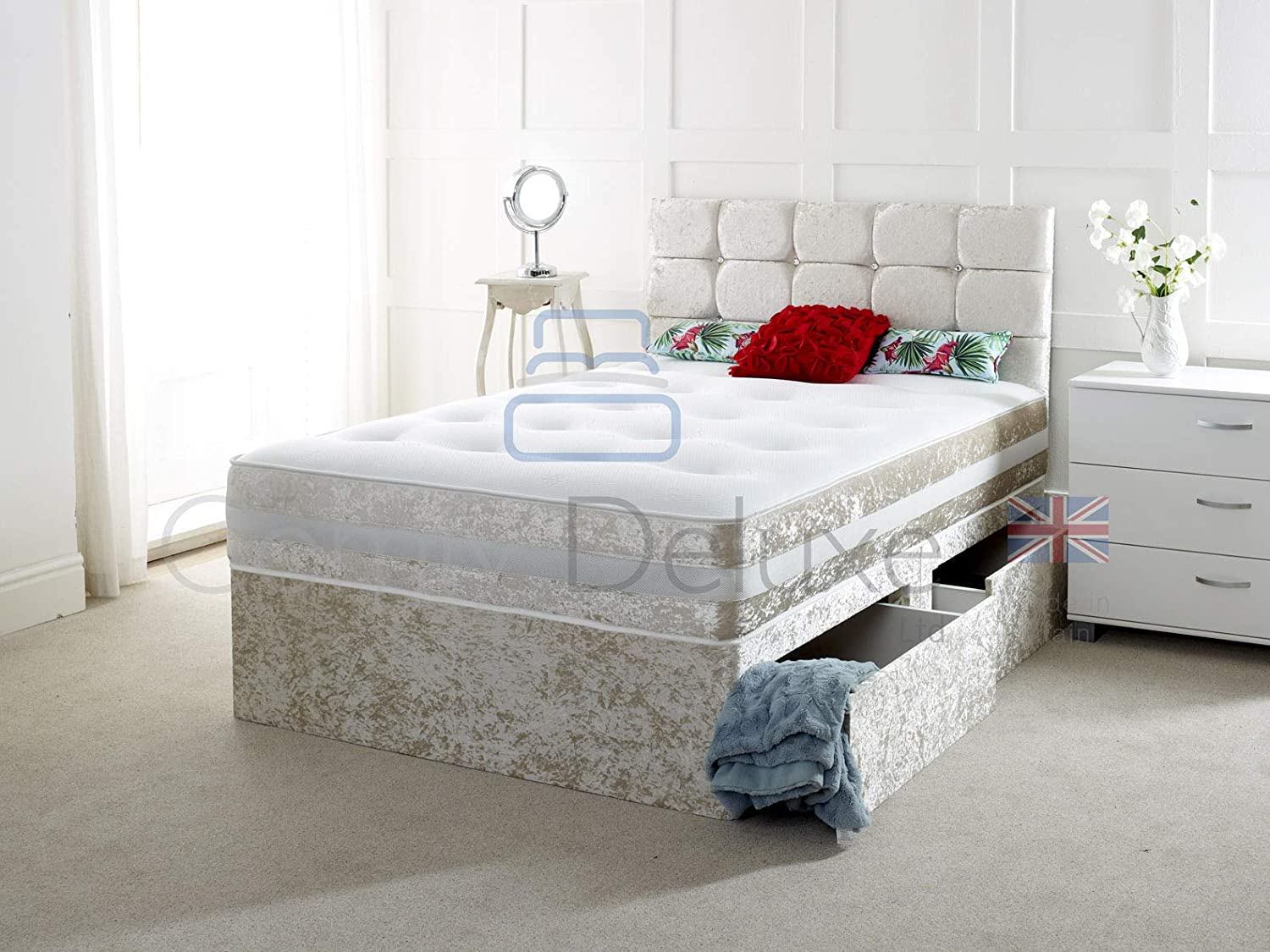 Crushed Velvet Divan Bed with | Mattress | HEADBOARD | Storage Drawers (2FT6 O Drawers, Black Crush) Comfy Deluxe LTD