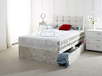 Crushed Velvet 3FT Single Divan Bed with Mattress Free HEADBOARD and Storage Drawers Available 3FT 2 Drawer, White Crush