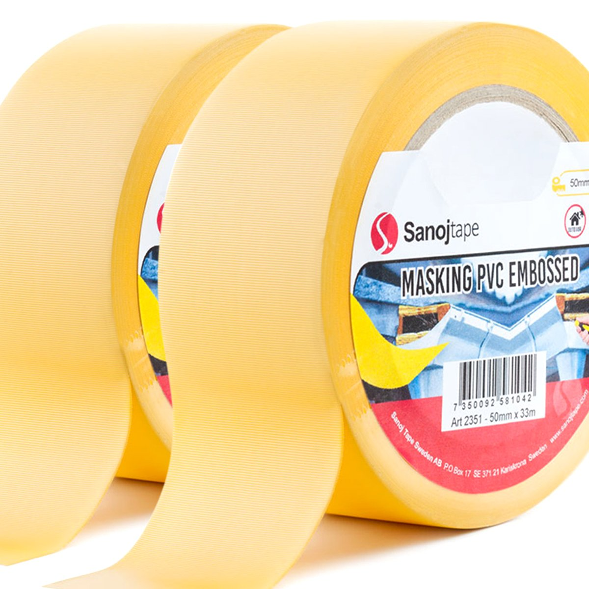 Sanojtape Plastering PVC Masking Tape (2-Pack) 50mm x 33m | Protection Embossed Masking Tape | Ideal for Rough Masking, Protection | Easy to Tear by Hand