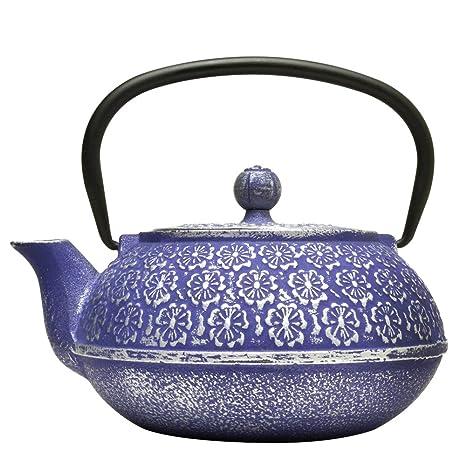 Amazon Com Primula Cast Iron Teapot Blue Floral Design W