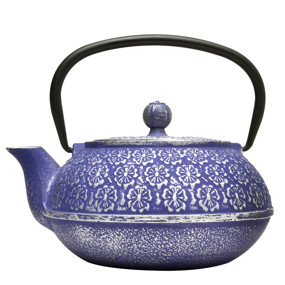 Primula Cast Iron Teapot | Blue Floral Design w/Stainless Steel Infuser,34 oz