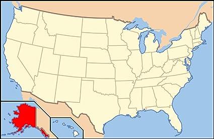 Us Map And Alaska.Amazon Com Home Comforts Laminated Map Overlay Alaska On Us Map