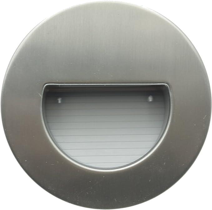 redondos, 3000 K, luz blanca c/álida, IP44, aspecto de acero inoxidable Trango 10TGSL16R Juego de 10 focos LED para escaleras