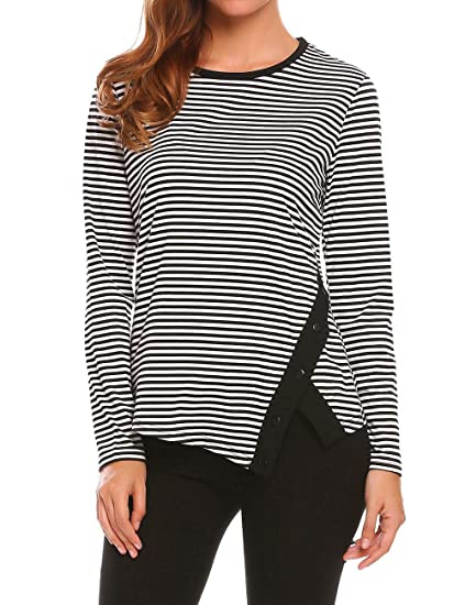 0d50dccf450 Womens Scoop Neck T Shirts Striped Long Sleeve Split Hem Fall Blouse Tunic  Tops at Amazon Women s Clothing store