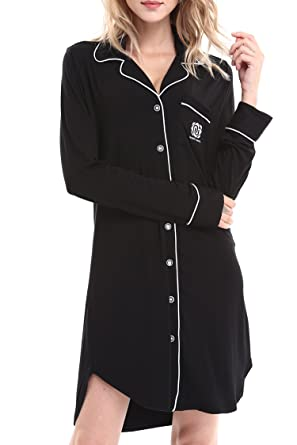 6eeebfb1a1 NORA TWIPS Nightshirts for Women Sleepwear Pajama Dress Button Down (Black