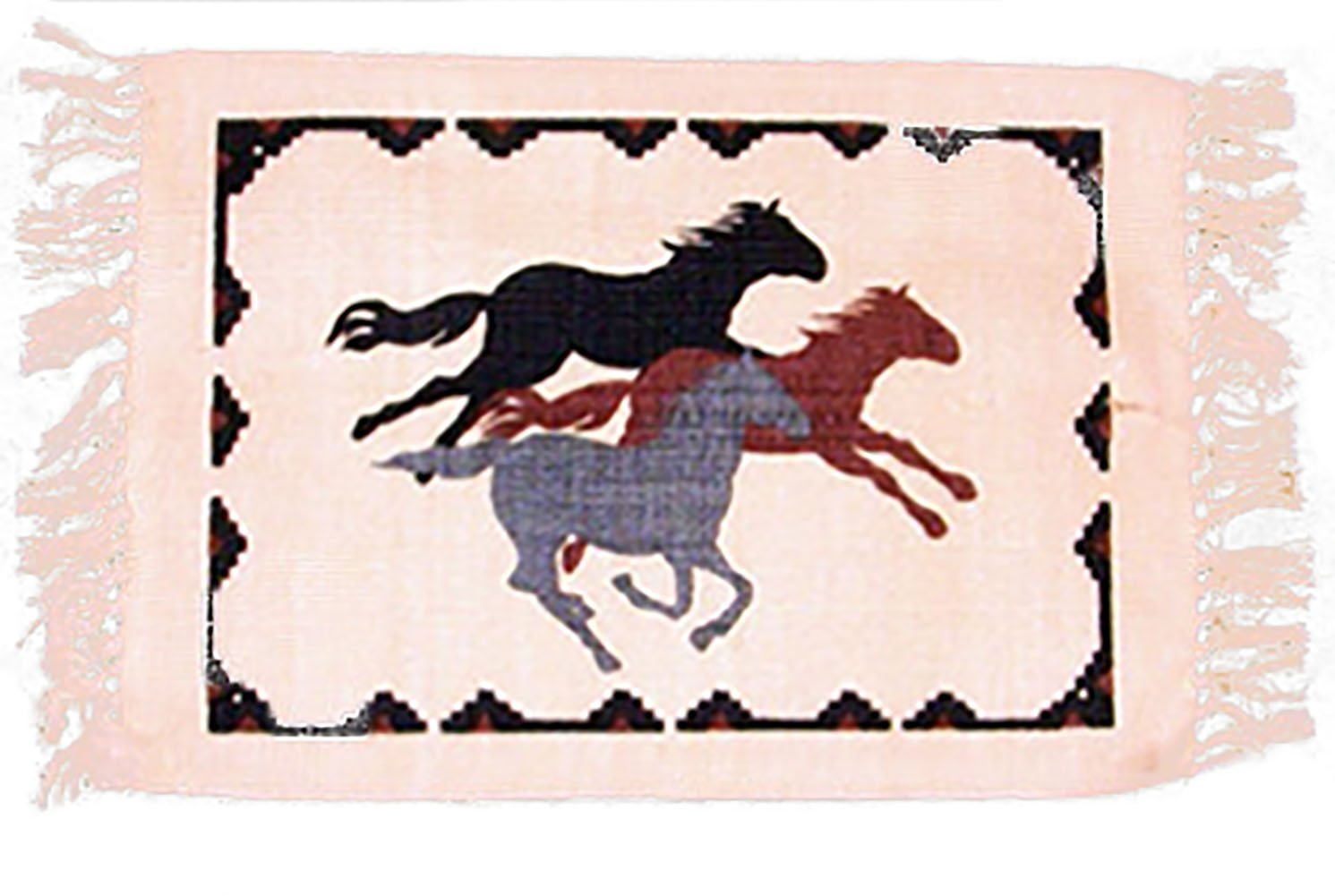 "Unique & Custom {13'' x 19'' Inch} Set Pack of 4 Rectangle ""Non-Slip Grip Texture"" Large Table Placemat Made of Cotton w/ Rustic Country Horse Stallion Fringed Design [Colorful Beige, Black & Red]"