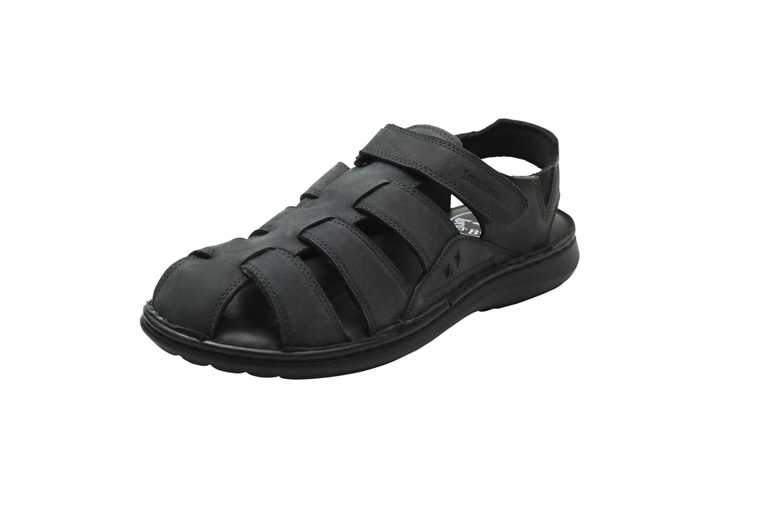 LOTUS BAWA Men's Amaretto Fisherman Genuine Leather Breathable Sandals Non-Slip Adjustable Summer Beach Wear Slippers-Black