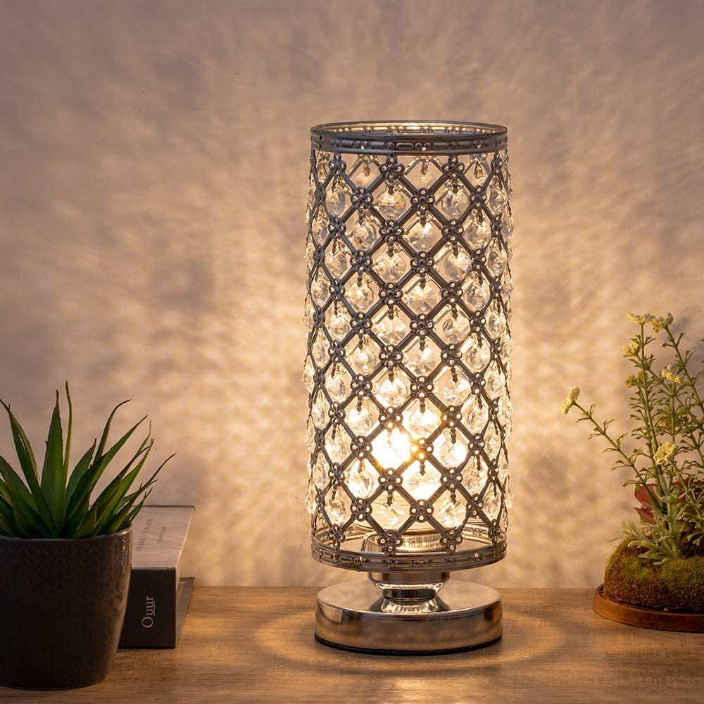 Crystal Table Lamp, Nightstand Desk Lamp Night Light Lamp, Table Lamps Decorative for Bedroom, Living Room, Dining Room, Dresser