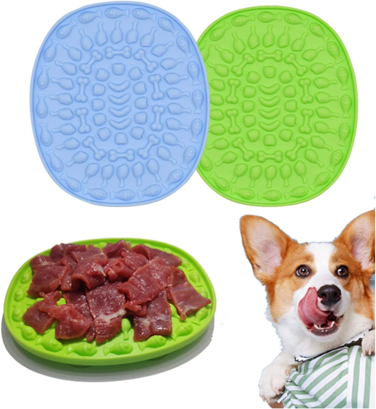 Couwilson Lick Mat for Dogs with Suction - Alternative to Slow Feeder Dog Bowls, Boredom and Anxiety Reduction, Perfect for Food, Treats, Yogurt, or Peanut Butter - 2 Pcs