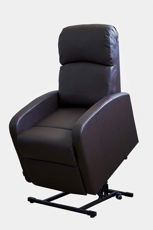 Sillón Relax Con Función Auto-Ayuda (Levanta Personas), Reclinación Eléctrica, Tapizado en PU Anti-Cuarteo. Modelo Premium AH-AR30620CH, Acero, CHOCOLATE,