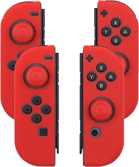 Fosmon Joy con Grips - Juego de 2 Pares de Protectores de Gel para Nintendo Switch Joy con Controlador (Silicona, Antideslizante, Incluye Tapones para el Pulgar), Color Rojo: Amazon.es: Electrónica