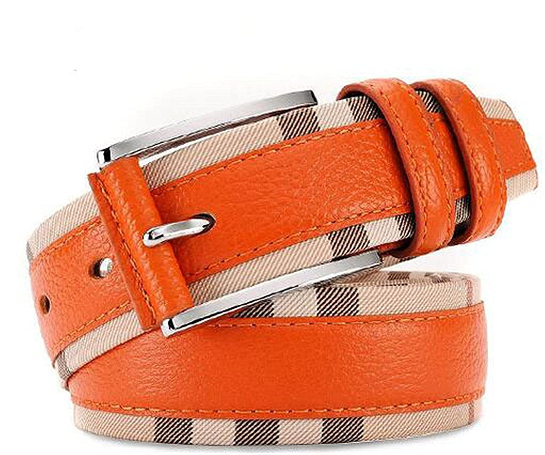 OnIn?Fashion?New NEW Spring Fashion Genuine Leather Patchwork Plaid Belts Women Men Original Waist Strap Accessories