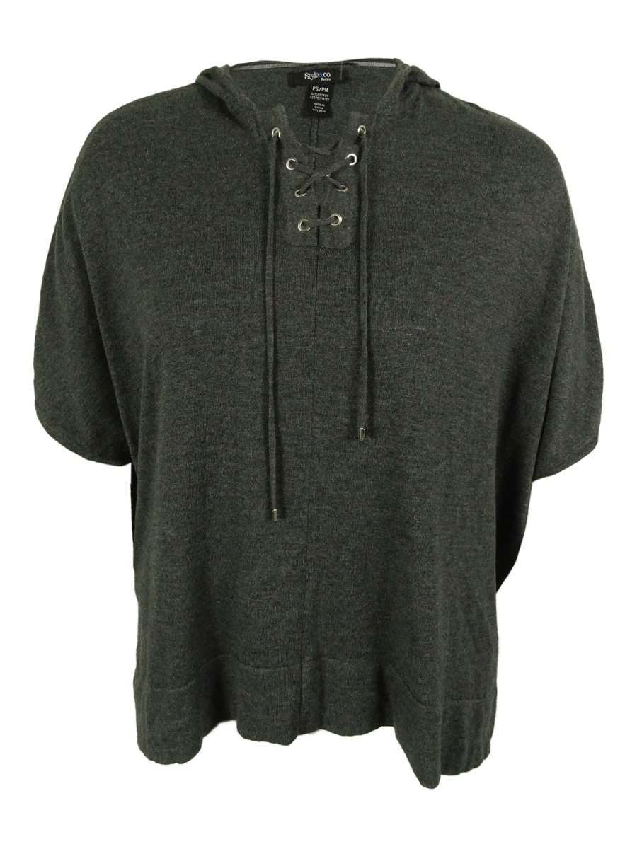 Style & Co. Women's Hooded Poncho (PS/PM, Charcoal Heather)