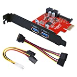 Inateck PCI-E to USB 3.0 2-Port PCI Express Card and 15-Pin Power Connector, Mini PCI-E USB 3.0 Hub Controller Adapter, with Internal USB 3.0 20-PIN Connector - Expand Another Two USB 3.0 Ports