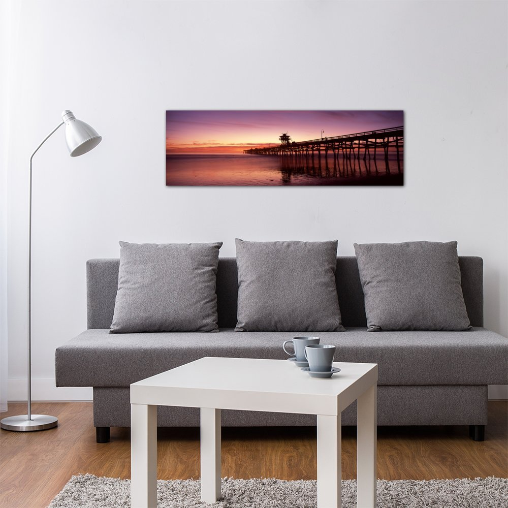 iCanvasART 3 Piece Silhouette of a pier USA Canvas Print by Panoramic Images 48 x 16//1.5 Deep California Los Angeles County San Clemente Pier