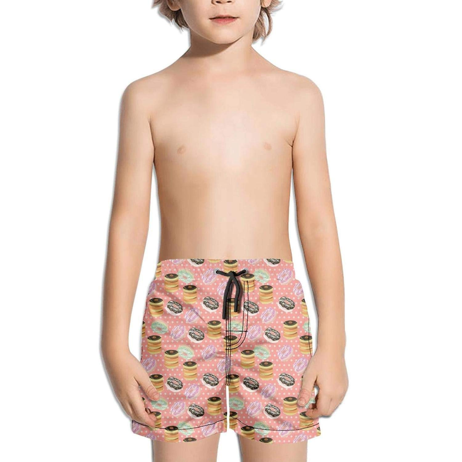 Kid Donut Pink Party Wedding Black Cake White Swimming Trunks Surfing Outdoor Water Sports Quick-Dry Boardshorts