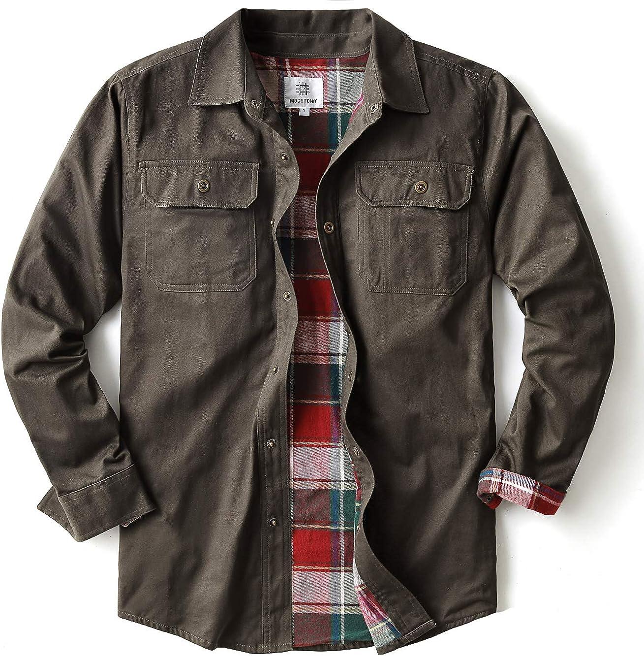 MOCOTONO Mens Heavyweight Cotton Canvas Flannel Lined Shirt Jacket