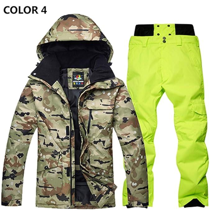 Hombre Trajes de esquí Invierno Protección contra el frío Manténgase abrigado Traje de montañismo Chapa Doble Chaqueta esquí Pantalones, M, ...