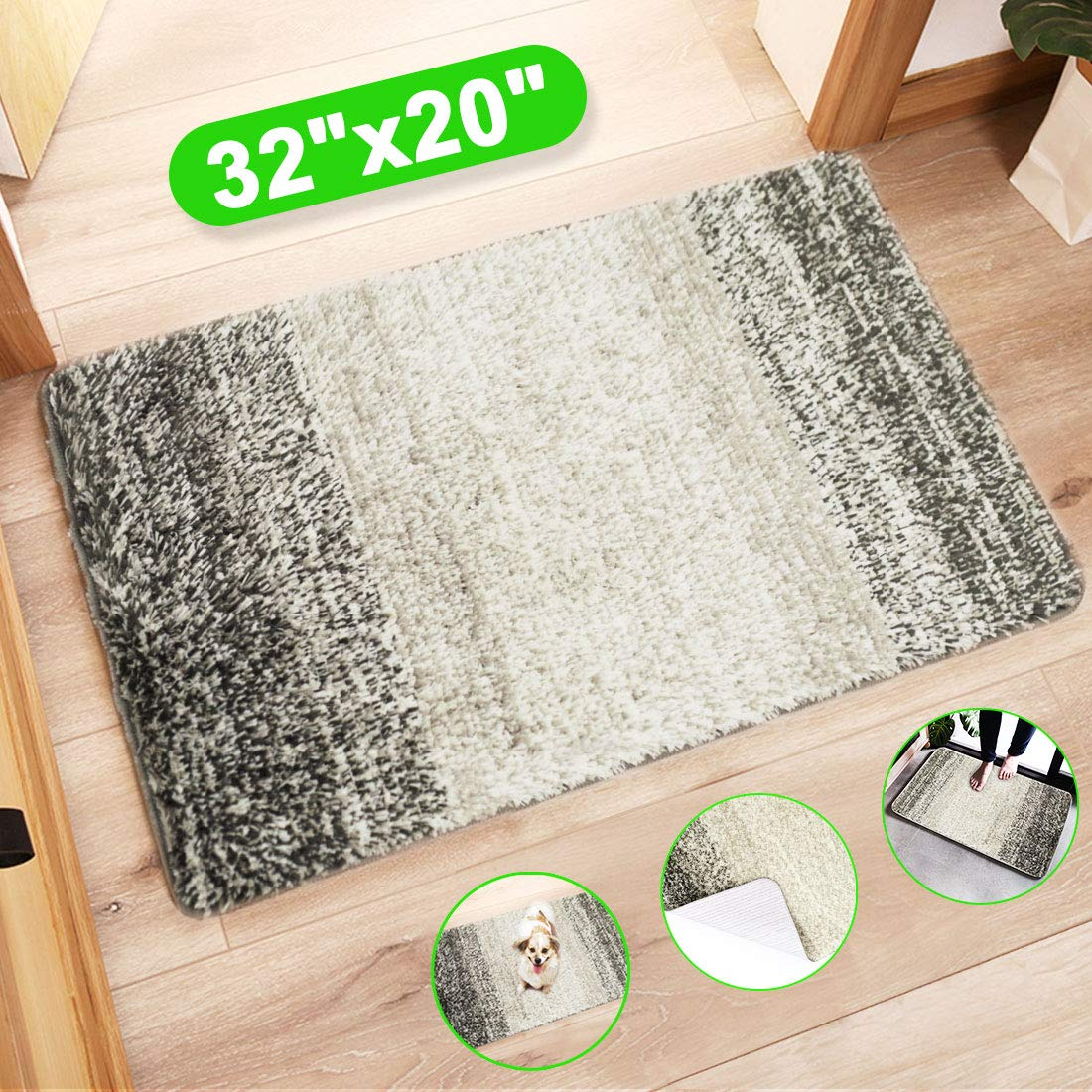 "MAIHOMETA Indoor Doormat Front Door Mat, Super Absorbent Entrance Door Rug, Non Slip Back Door Mats Indoor, Soft Entry Rugs Inside Machine Washable Door Carpet for Entryway (32""x20"", Grey/Gray)"