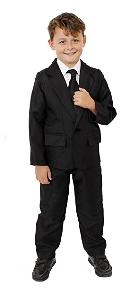 Childs Black Suit Fancy Dress Costume Seceret Agents Black Suit For Children 2 Piece Black Suit With Jacket And Trousers Perfect For Science