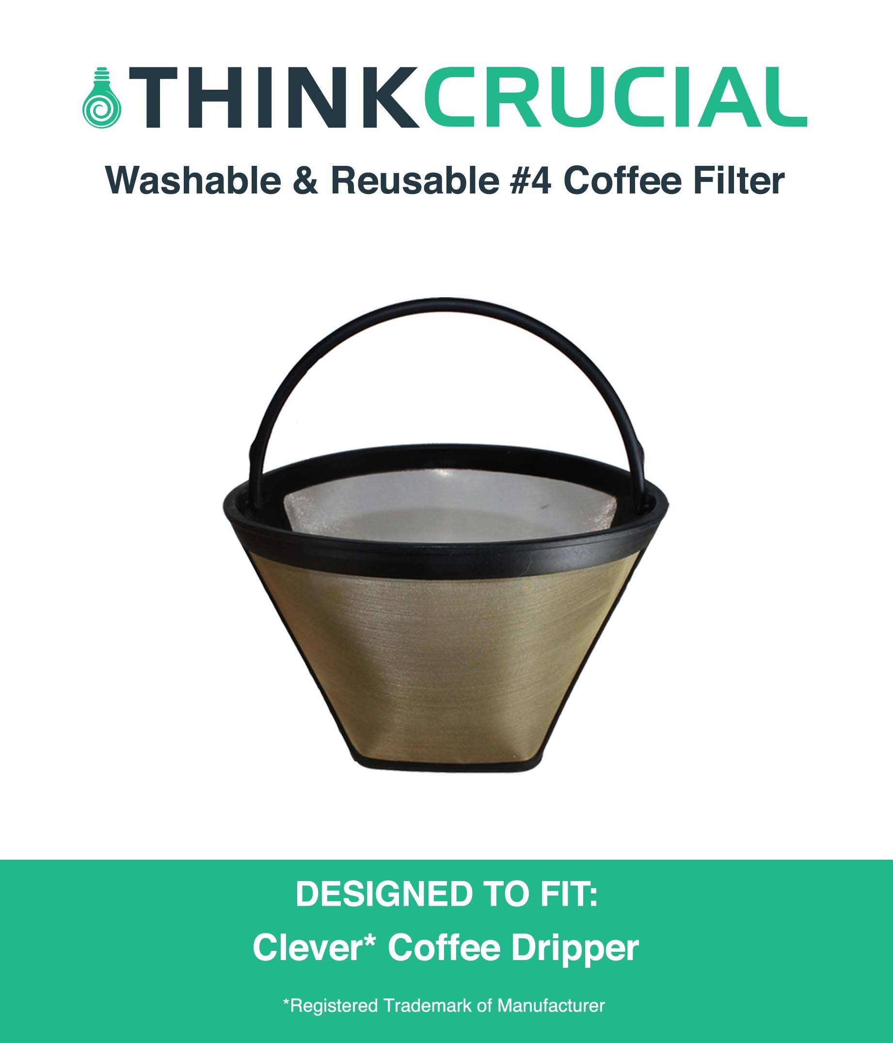 Think Crucial Washable & Reusable Cone Coffee Filter, Fits Clever Coffee Drippers