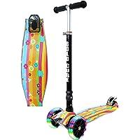 BOLDCUBE Kids Scooter 3 Wheel - Tilt & Steer - Foldable & Height Adjustable - with Flashing LED Lights