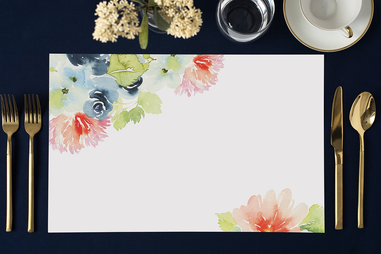 DB Party Studio Paper Placemats Pack of 25 Watercolor Flowers Design Disposable Place Mats Bridal Shower Birthday Retirement Easy Cleanup Decor Kitchen Dining Brunch Dinner 17 x 11 Table Setting Set
