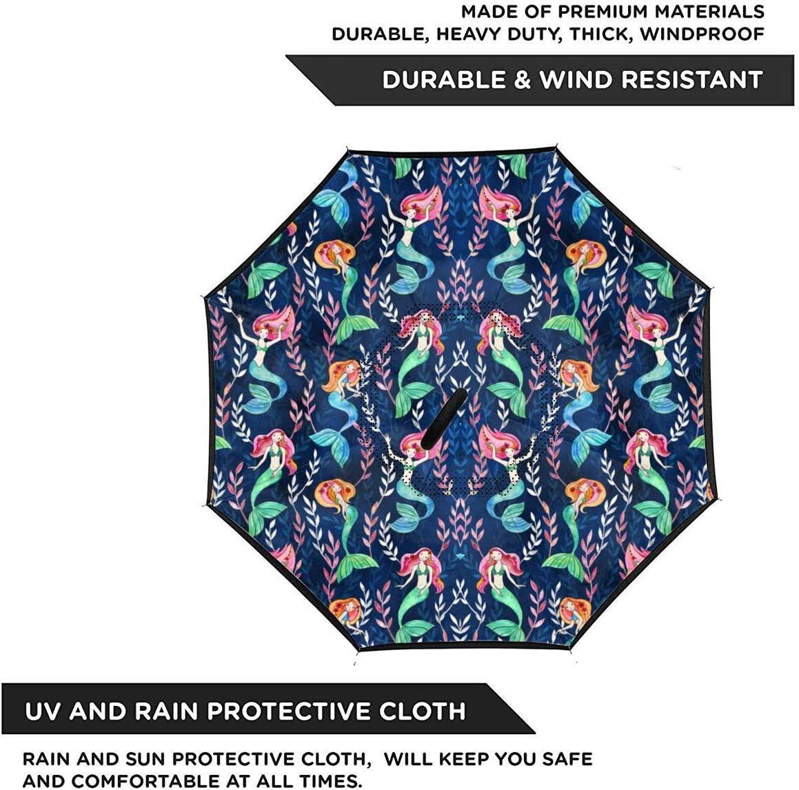 S200US Little Merry Mermaids Inverted Reverse Umbrella Sun/&Rain Car Large Windproof Travel UV Umbrella
