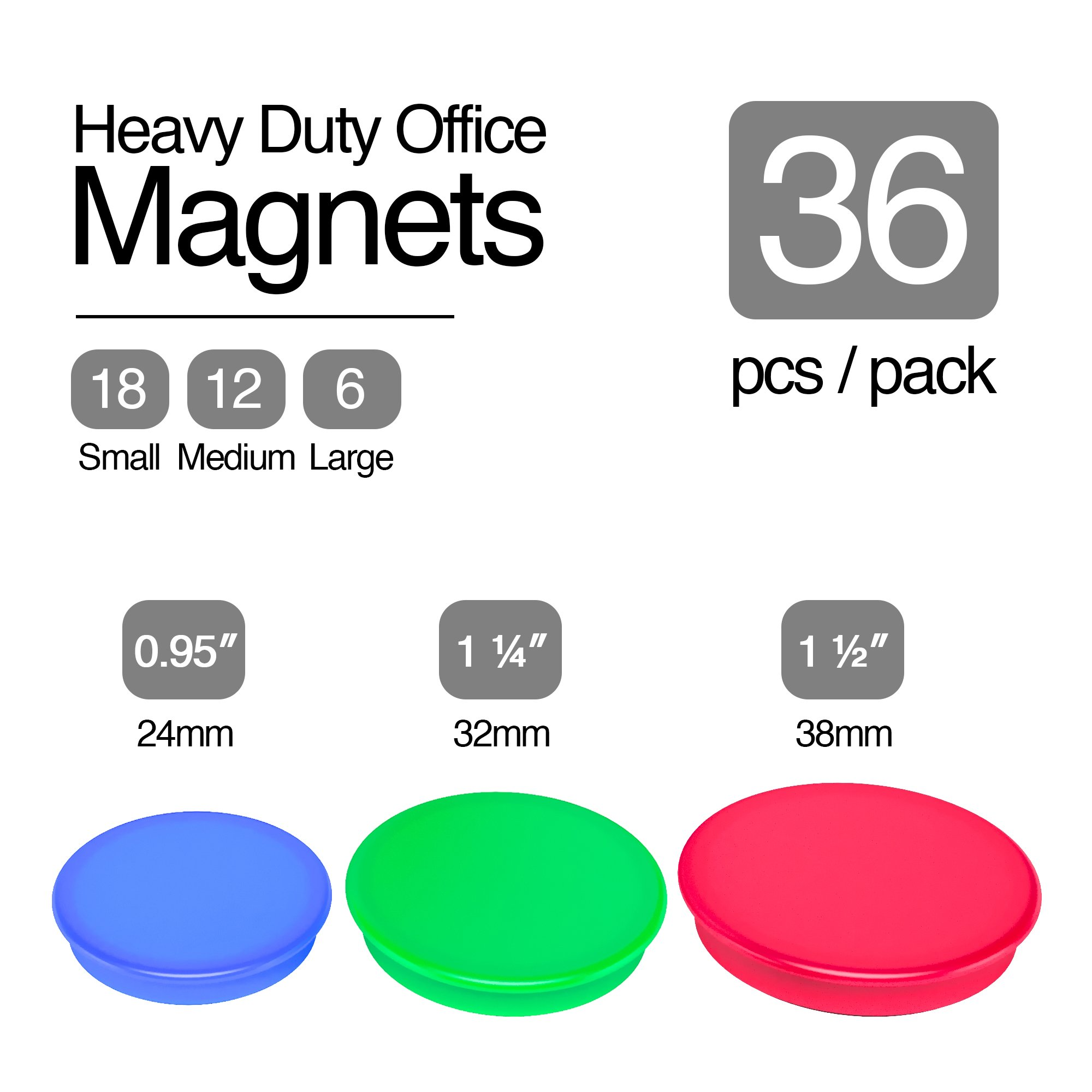 36-piece Veemoh Heavy duty Office magnets pack - Office, Kitchen, Refrigerator, Whiteboard magnet set by Veemoh (Image #5)