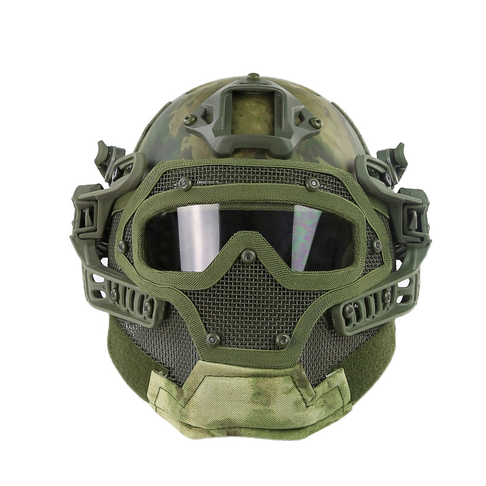 HYOUT Fast Tactical Helmet Combined Full Mask Goggles Airsoft Paintball CS (at-FG) by HYOUT